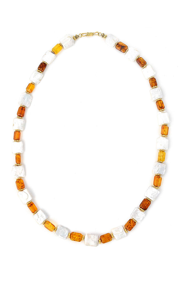 One of a kind, Gold Plated, Amber square & Freshwater Pearl Necklace.