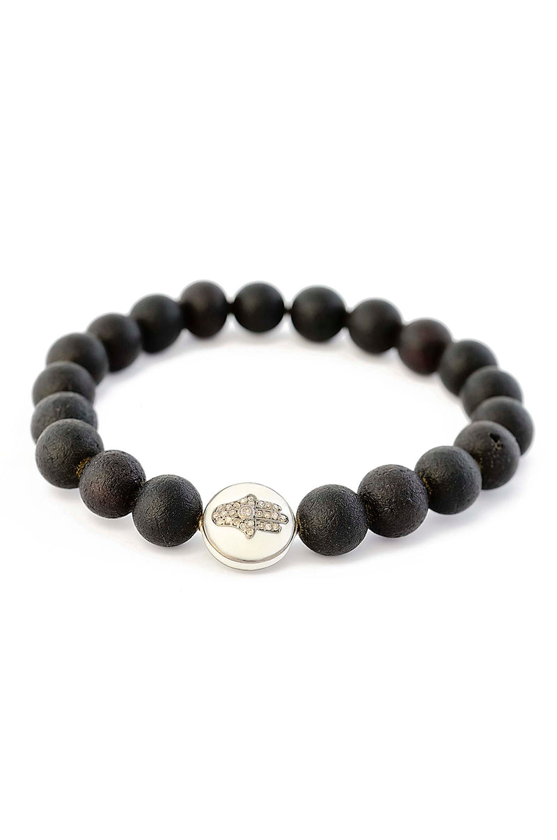 Matte Finish Black Amber with Hamsa Diamond Bead bracelet