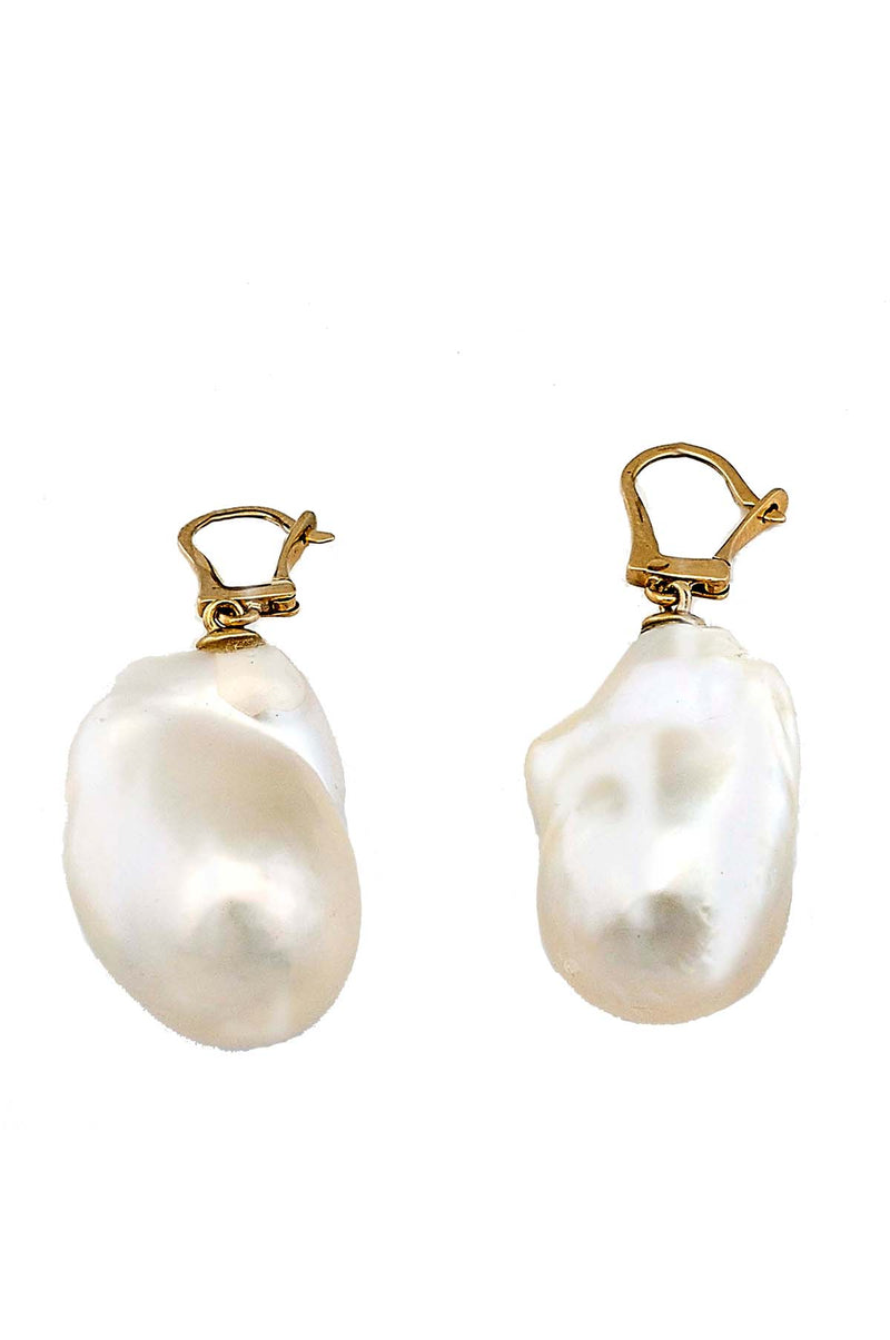 18kt Gold Jumbo Freshwater Baroque Pearl Earrings