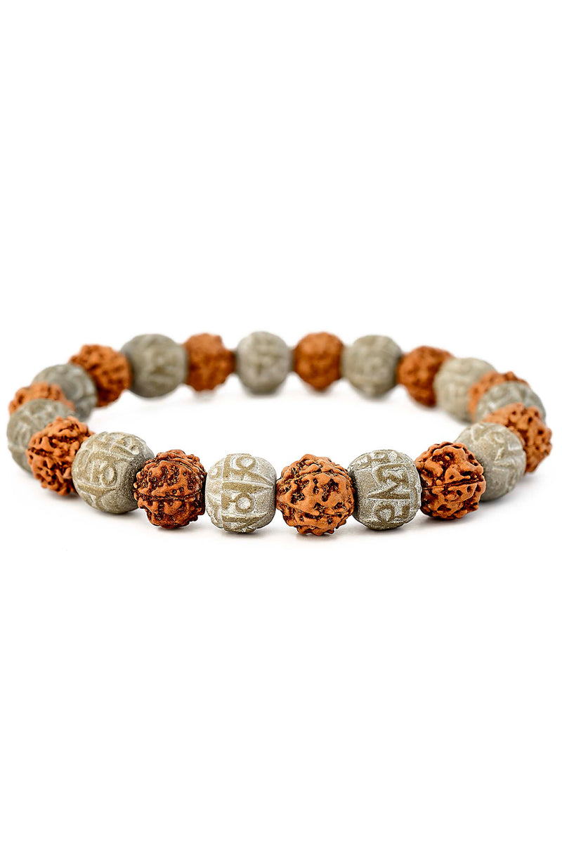 Rudraksha & Hand Carved Soap Stone Stretch Bracelet