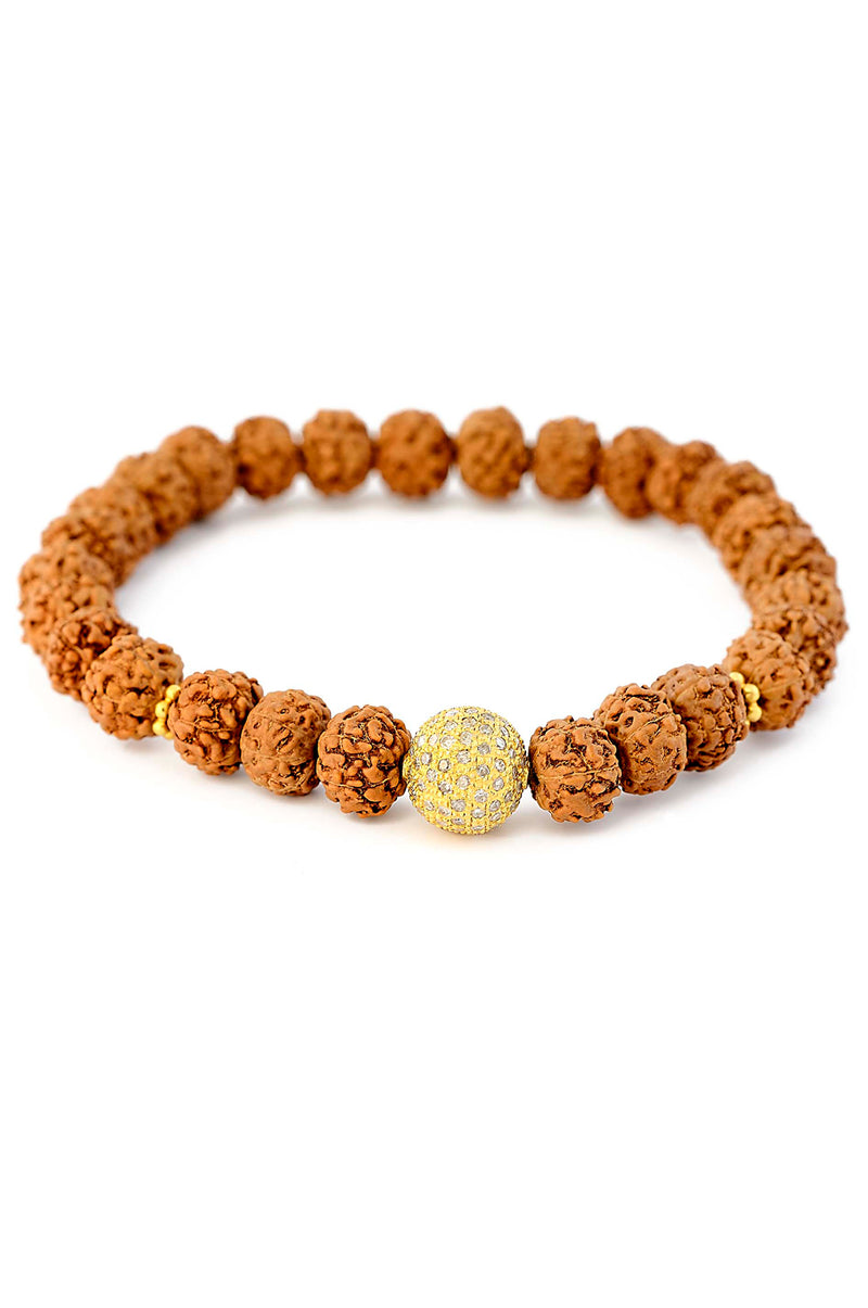 18kt Gold Rudraksha Stretch Bracelet with Diamond Pave Ball