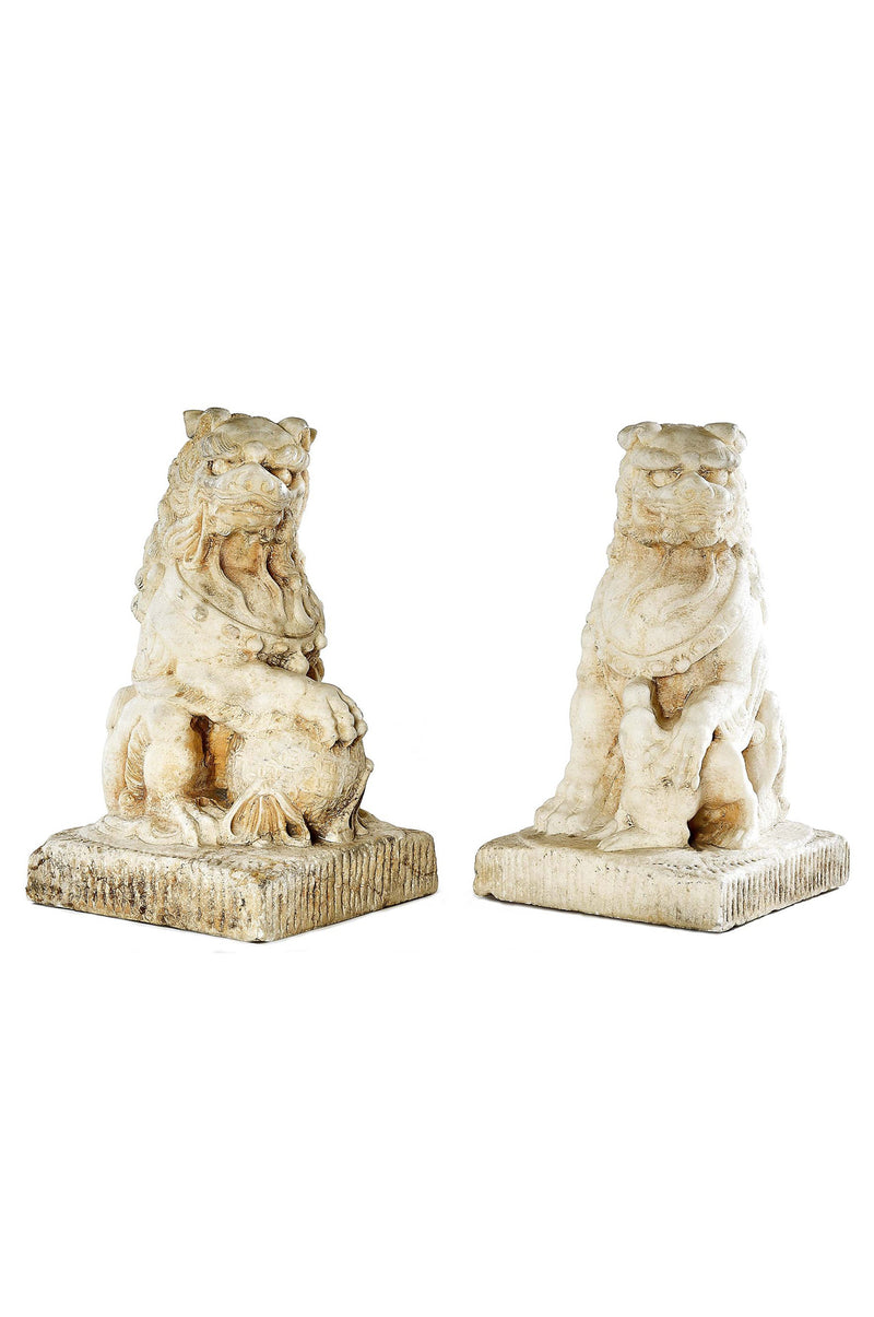 Hand carved Marble Foo Dogs (Pair)