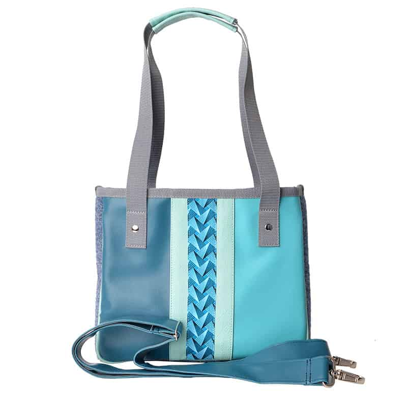 MINI SHOPPER Stripe Circle Blue Turquoise