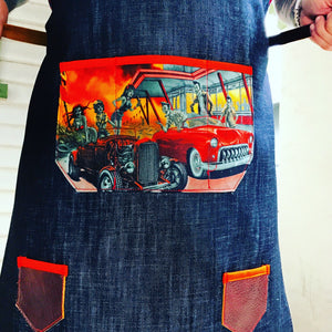 Denim & zombie drive in apron