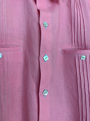 Mr alamo heights pink linen guayabera