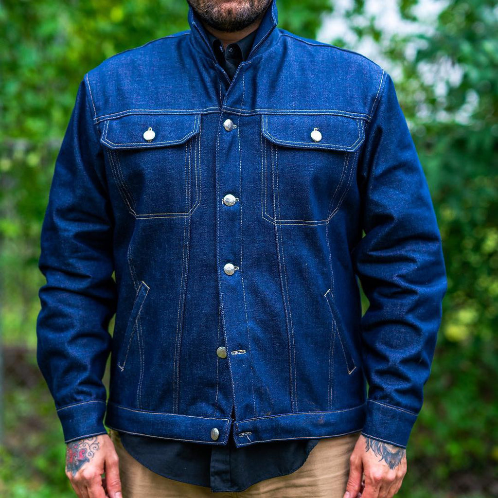 """Texas Nights "" denim jacket with plaid lining"
