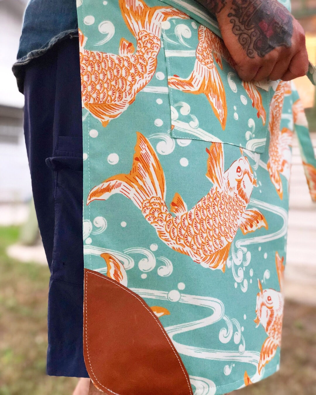 """Don't be Koi with me"" Apron with cognac leather"