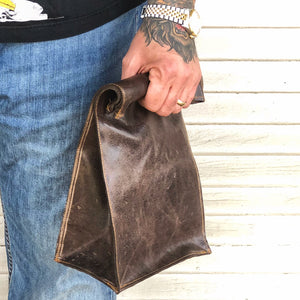 Handmade leather lunch bag