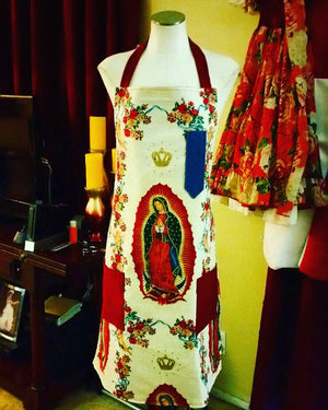 Virgin Mary Apron in white