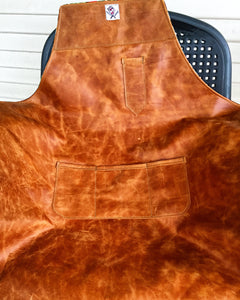 Cognac leather reversible leather apron