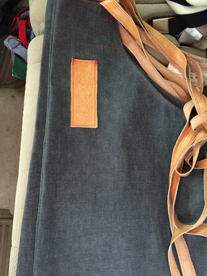 denim and leather crossback apron