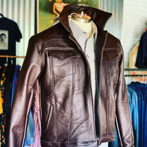 """I'll be Maverick you can be Goose"" brown bomber leather jacket"