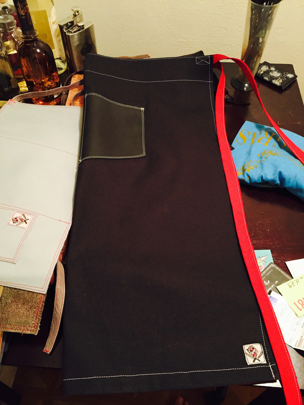 FoodWhore leather & canvas waist apron