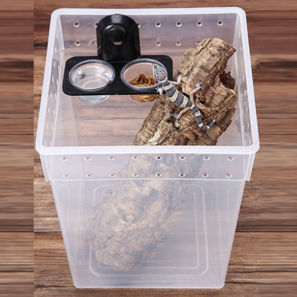 1pc Reptile Tank Insect Spider Ants Nest Snake Gecko Food Water Feeding Bowl Terrarium Breeding Feeders Box Pets Supplies