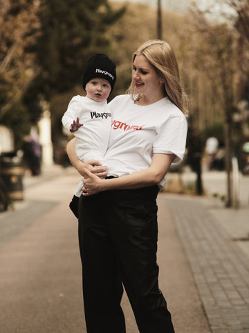 organic white tshirt, matching mama and kid, mini-me, Playground clothing, organic baby beanie,