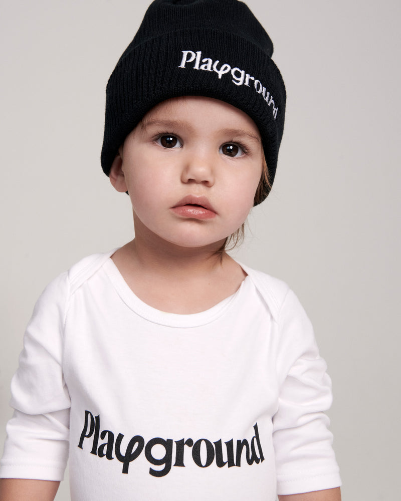 Playground Logo Babysuit In White