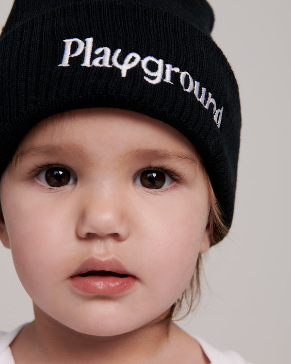 Playground Logo Kids Beanie In Black