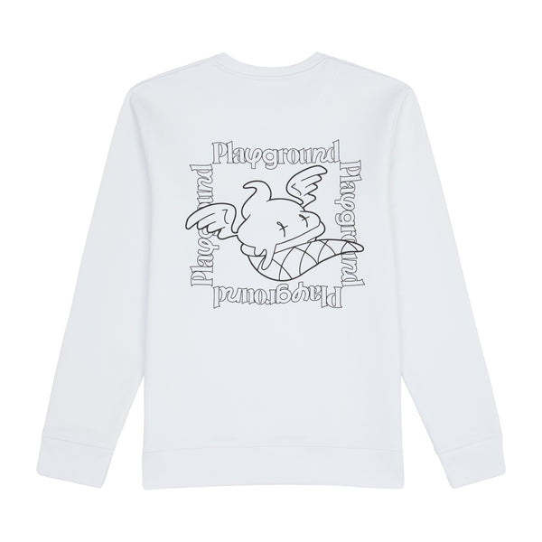 Playground Statement Sweatshirt In White