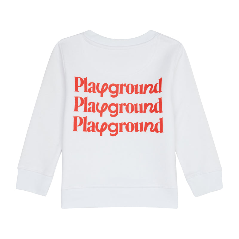 Playground Kids Repeat Logo Sweatshirt In White