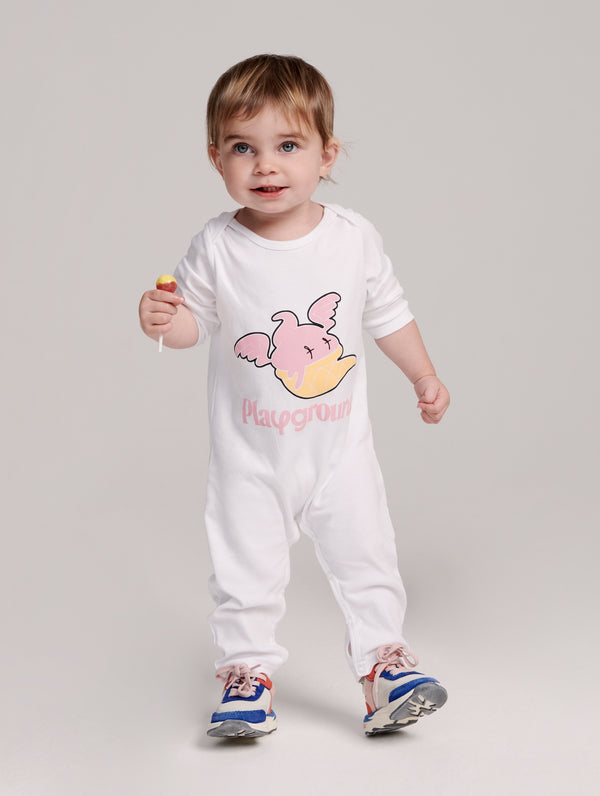 Playground Frankie the Ice Cream Babysuit In White
