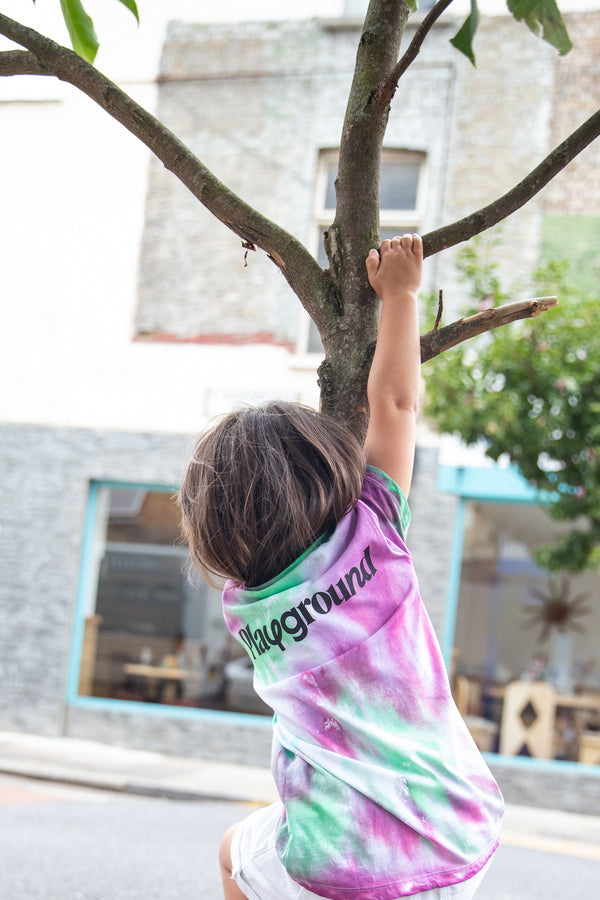 Playground x Henry Holland Kids T-shirt Green/Purple Tie Dye