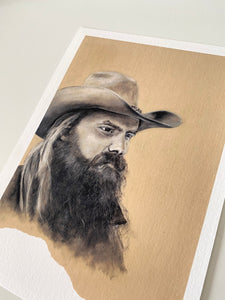 A4 Print Chris Stapleton (Charcoal on Brown Paper)