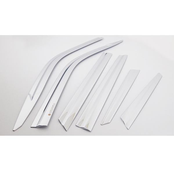 Auto Clover Door Visor (Chrome 6pcs set) -Kia Stonic