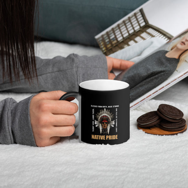 Native Pride Matte Black Magic Mug - LAMASSU-GLOBALS