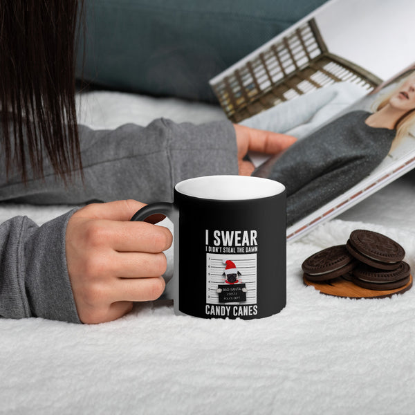I Swear Candy Cane Matte Black Magic Mug - LAMASSU-GLOBALS