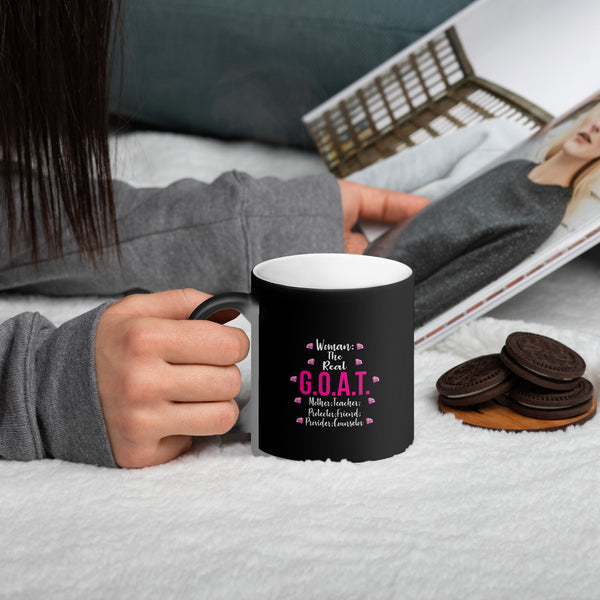 Woman The Real G.O.A.T. Matte Black Magic Mug - LAMASSU-GLOBALS