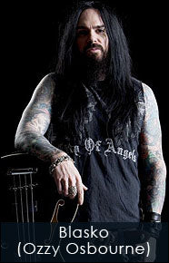 Blasko from Ozzy Osbourne wears leather cuffs and guitar straps for his bass.