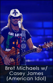 Bret Michaels playing his custom Red Monkey bandanna guitar strap on the finale of American Idol