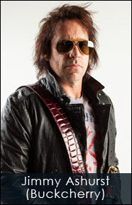 Jimmy Ashurst of Buckcherry and his Red Monkey guitar strap and Jail Guitar Doors T-Shirt