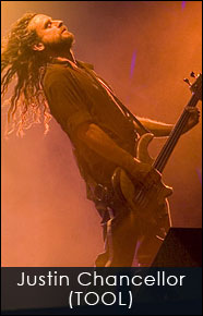 Justin Chancellor of Tool with his custom Fibonacci guitar strap by Red Monkey