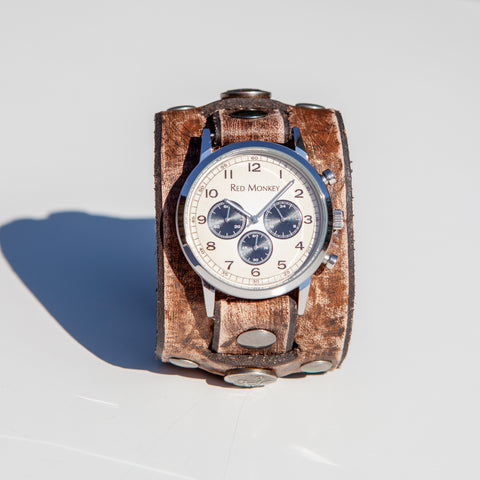 Distressed rock n' roll and western style watchband is part of the new Relic Collection by Red Monkey.