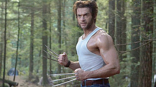Hugh Jackman as Wolverin wearing his wide leather cuff watch by Red Monkey