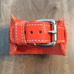 Leather I watch bands and wide Apple watches by Red Monkey