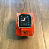 Leather Apple watch band in orange soft leather with white stitching