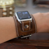 "Apple ""1990"" Cuff watch band (Vintage Brown)"