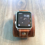 Apple watch leather band in wide cuff using Hermes style leather