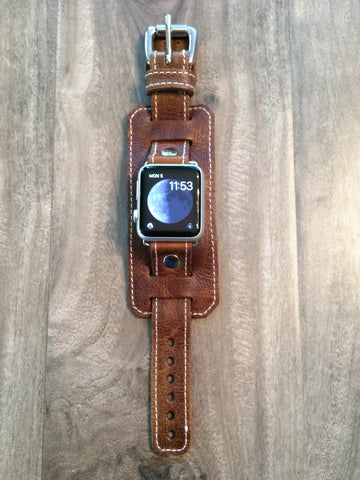 70's style Apple Watch band in vintage brown leather with white stitch