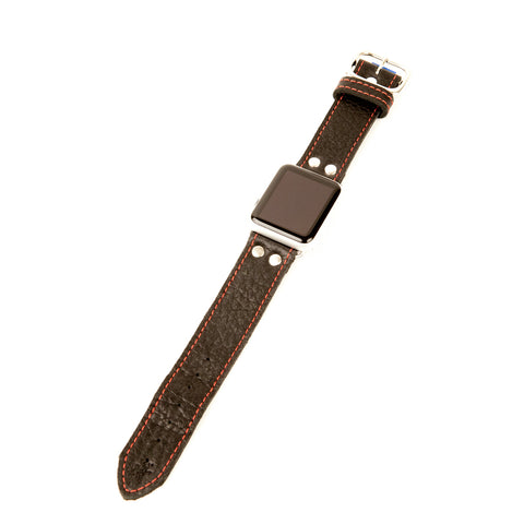 Unique Apple Watch band in black leather with red stitch