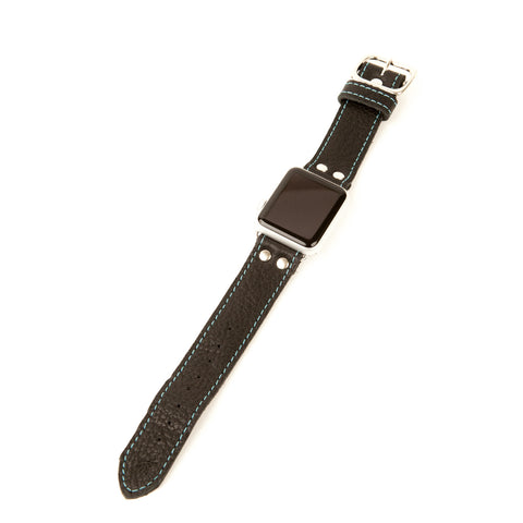 Leather Apple Watch band in Black with Blue stitch