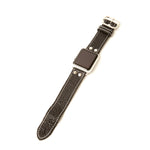 Black leather Apple Watch band with white stitch by Red Monkey