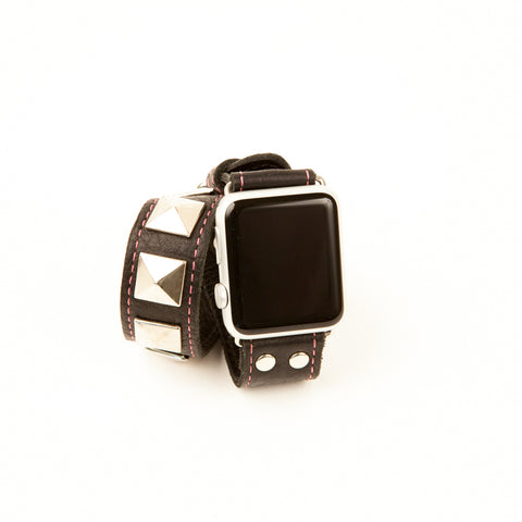 """STUDDED DOUBLE WRAP"" APPLE WATCH BAND (BLACK/PINK STITCH)"