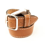 Hermes style Apple watch band that wraps twice around the wrist in brown leather with white stitch.
