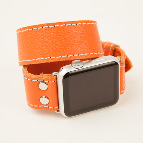 Orange leather Double Wrap Apple Watch band