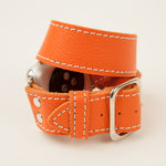 Custom Double wrap Apple Watch band in Orange Leather and white stitch for 38, 40, 42, 44 mm Apple Watches.