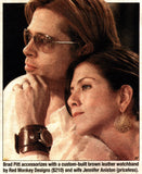 Brad Pitt wearing his wide leather Red Monkey watch with Jennifer Aniston