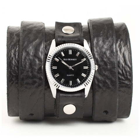 Double strap wide leather watchband as seen in Girl with the Dragon Tatoo